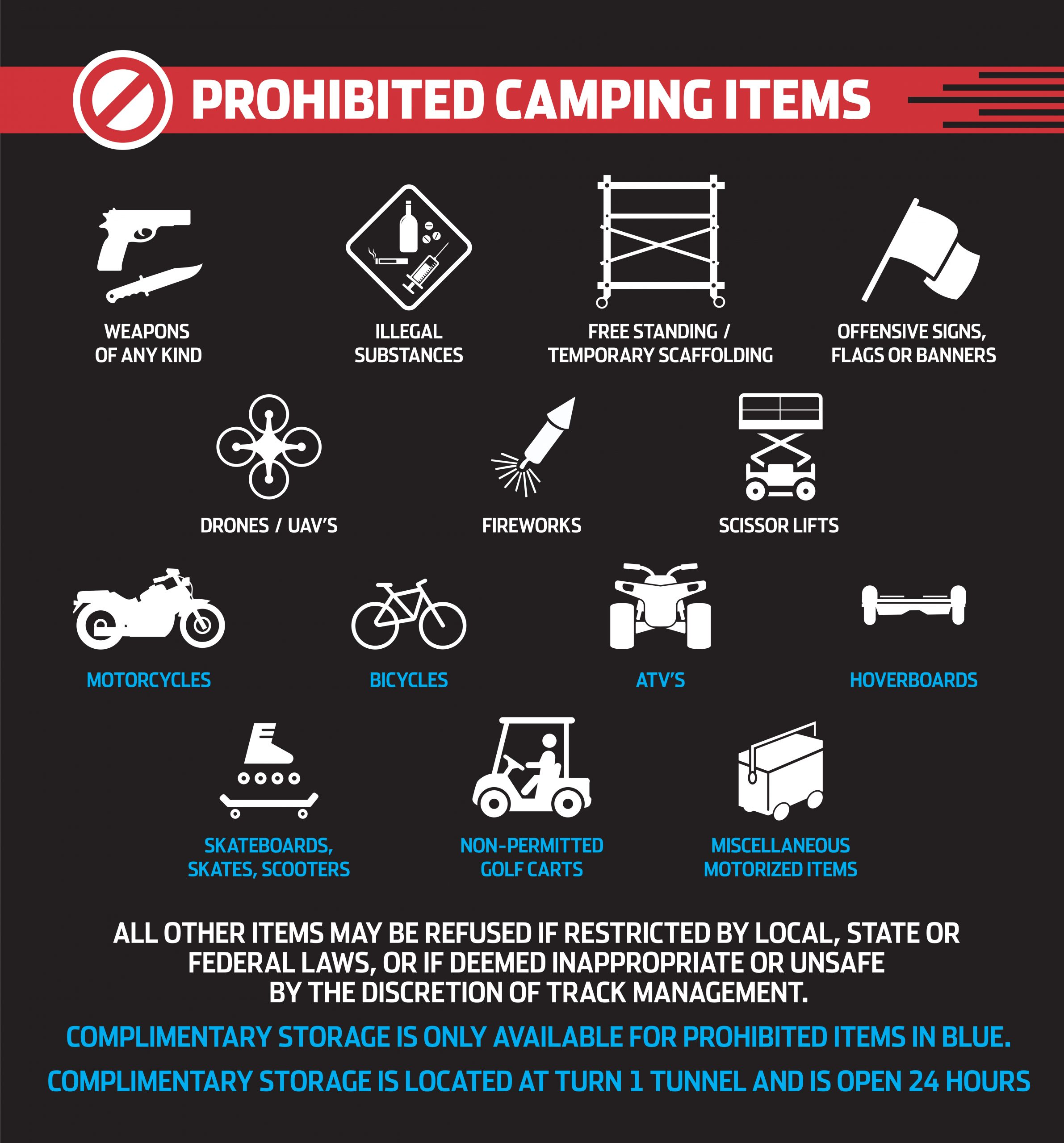 PROHIBITED CAMPING ITEMS